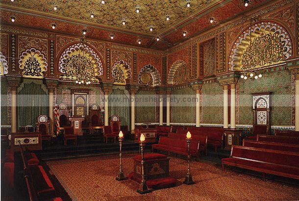 Oriental Hall is in the interior of the Grand Lodge of PA. It was designed  in 1896 using Moorish design, copied from the Alhambra in Granada, Spain,  ...
